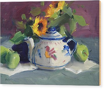 Mexican Pottery Wood Print by Judy Crowe