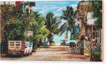 Mexican Side Street Wood Print by Gina Cormier