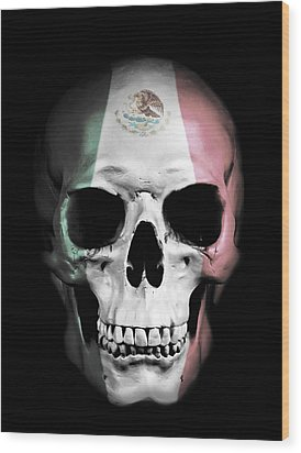 Wood Print featuring the digital art Mexican Skull by Nicklas Gustafsson