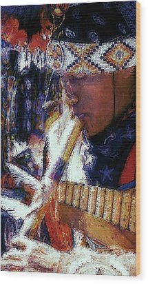 Wood Print featuring the photograph Mexican Street Musician by Lori Seaman