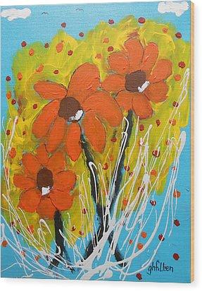 Mexican Sunflowers Flower Garden Wood Print