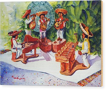 Mexico Mariachis Wood Print by Estela Robles