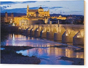 Mezquita And Roman Bridge In Cordoba Wood Print