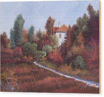 Mezza Bicicletta Nel Bosco Wood Print by Guido Borelli