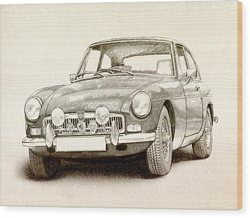 Mg Mgb Mkii Wood Print by Michael Tompsett