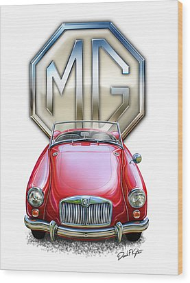 Mga Sports Car In Red Wood Print by David Kyte
