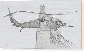 Mh-60 At Work Wood Print