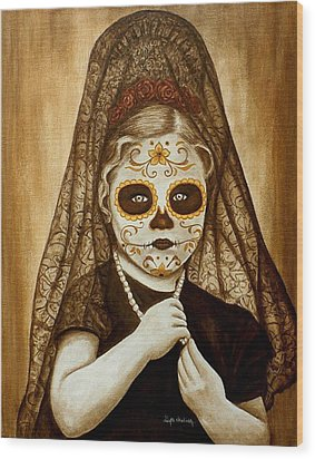 Wood Print featuring the painting Mi Hermosa Flor by Al  Molina