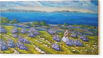 Mia On The Lavenders Field Wood Print