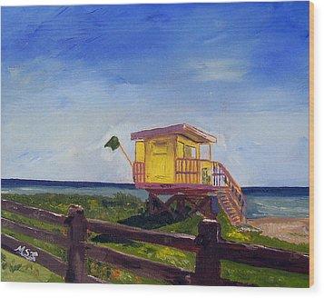 Miami Beach Lifeguard 46 St. Wood Print by Maria Soto Robbins