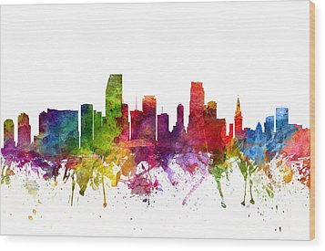 Miami Cityscape 06 Wood Print by Aged Pixel
