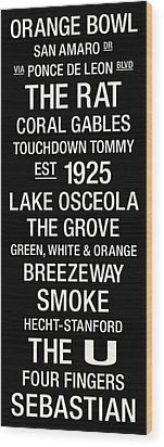 Miami College Town Wall Art Wood Print by Replay Photos