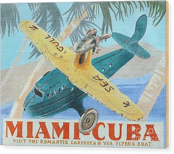 Miami-cuba Wood Print by Glenda Zuckerman