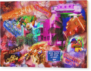 Miami Deco Wood Print by Marilyn Sholin