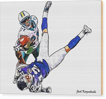 Miami Dolphins Vontae Davis And Minnesota Vikings Percy Harvin  Wood Print by Jack K