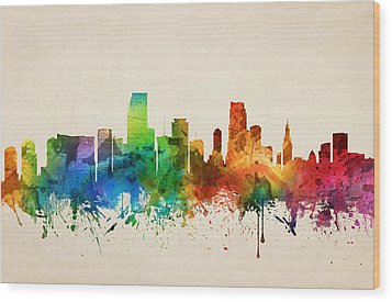 Miami Florida Skyline 05 Wood Print by Aged Pixel