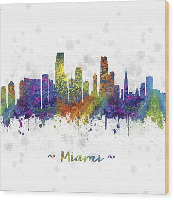 Miami Florida Skyline Color 03sq Wood Print by Aged Pixel