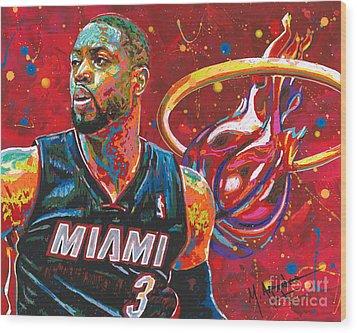 Miami Heat Legend Wood Print by Maria Arango