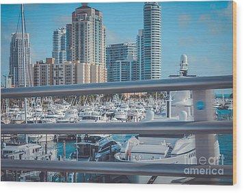 Miami Marina Wood Print by Claudia M Photography