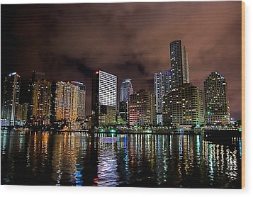 Miami Wood Print by Nelson Rodriguez