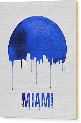 Miami Skyline Blue Wood Print by Naxart Studio