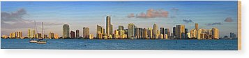 Miami Skyline In Morning Daytime Panorama Wood Print by Jon Holiday