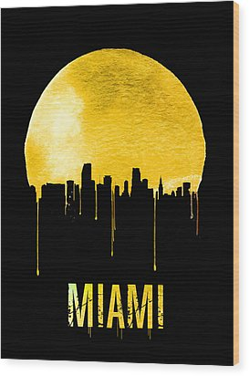Miami Skyline Yellow Wood Print by Naxart Studio