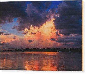 Miami Storm Wood Print by Jonathan Gewirtz