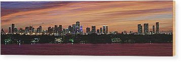 Miami Sunset Panorama Wood Print by Gary Dean Mercer Clark