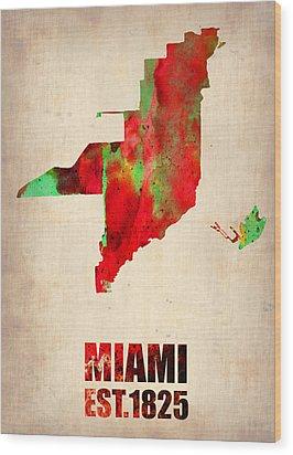 Miami Watercolor Map Wood Print by Naxart Studio