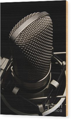 Wood Print featuring the photograph Mic by Brian Jones
