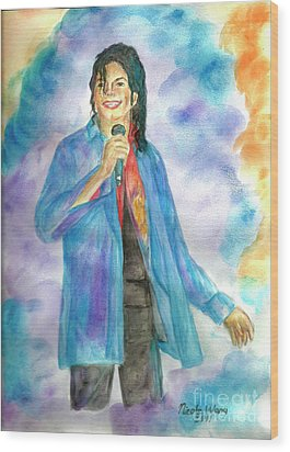 Michael Jackson - The Final Curtain Call Wood Print by Nicole Wang