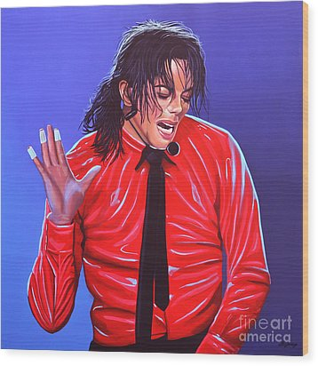 Michael Jackson 2 Wood Print by Paul Meijering