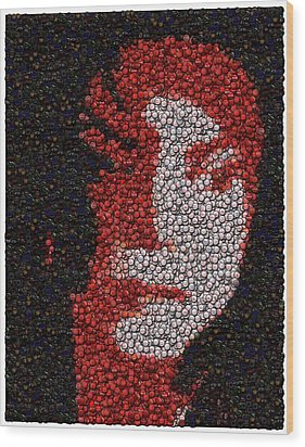 Wood Print featuring the mixed media Michael Jackson Bottle Cap Mosaic by Paul Van Scott