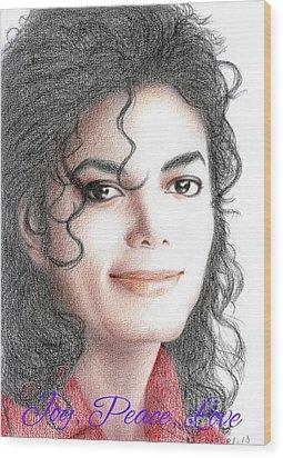 Michael Jackson Christmas Card 2016 - 001 Wood Print by Eliza Lo