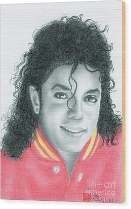 Wood Print featuring the drawing Michael Jackson #seven by Eliza Lo