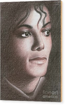 Wood Print featuring the drawing Michael Jackson #fourteen by Eliza Lo