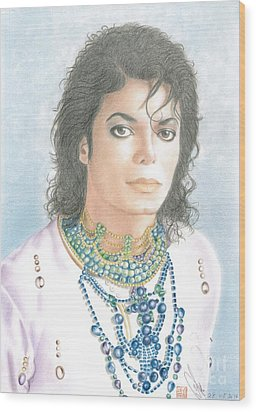 Wood Print featuring the drawing Michael Jackson - Our Beautiful Prince by Eliza Lo
