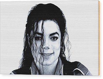 Wood Print featuring the drawing Michael Jackson Pencil Drawing  by Movie Poster Prints