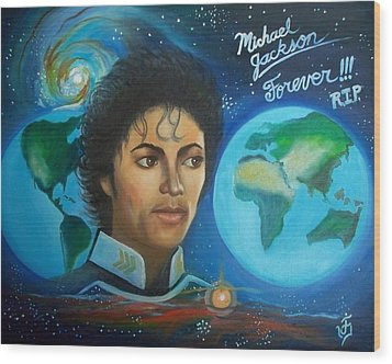 Michael Jackson Portrait. Wood Print by Jose Velasquez