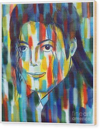 Michael Jackson  The Man In Color Wood Print by Habib Ayat