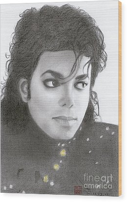 Wood Print featuring the drawing Michael Jackson #thirteen by Eliza Lo