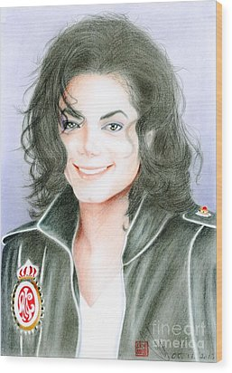 Wood Print featuring the drawing Michael Jackson #twelve by Eliza Lo
