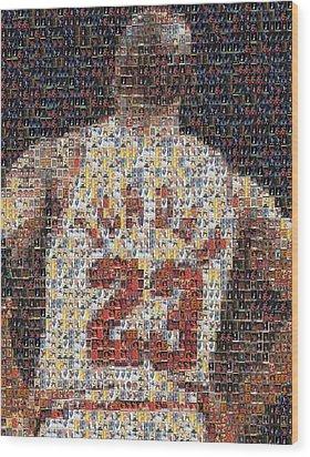 Michael Jordan Card Mosaic 2 Wood Print by Paul Van Scott