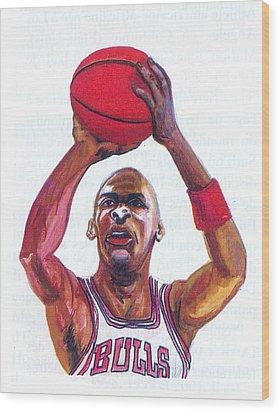 Wood Print featuring the painting Michael Jordan by Emmanuel Baliyanga