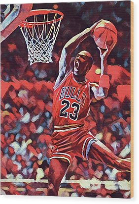 Wood Print featuring the painting Michael Jordan Slam Dunk by Dan Sproul