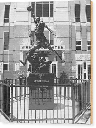 Michael Jordan Statue Wood Print by Amber Roth