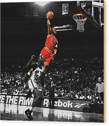 Michael Jordan Suspended In Air Wood Print