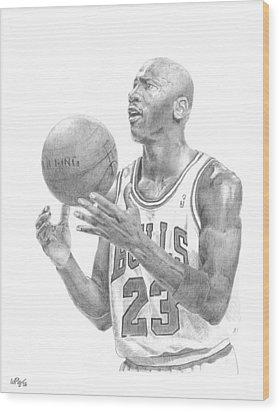 Michael Jordan Wood Print by William Pleasant