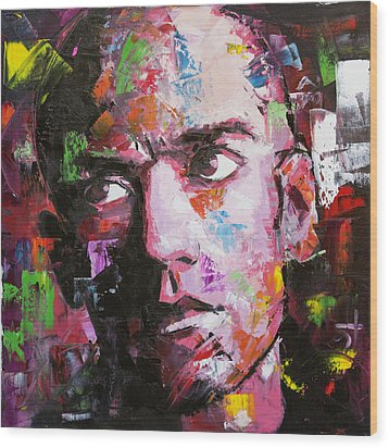 Wood Print featuring the painting Michael Stipe by Richard Day